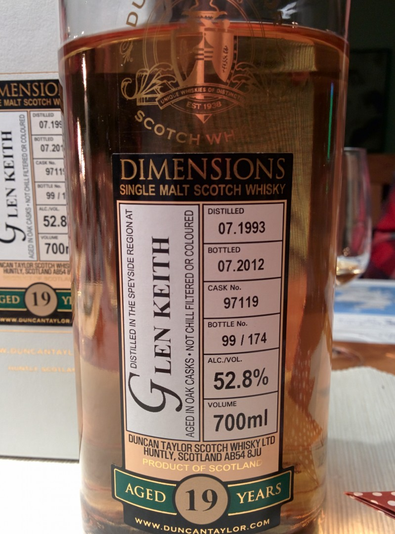 Glen Keith 1993 Dimensions Cask 97119